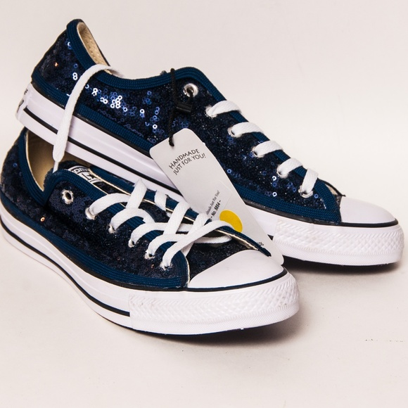 3a623c75829 Navy Blue Sequin Converse Low Tops Sneakers